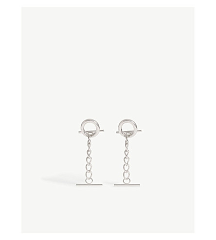 MONSE Hoop and chain long stud earrings (Silver