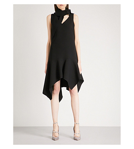 MONSE Cutout-detail flared crepe dress (Black