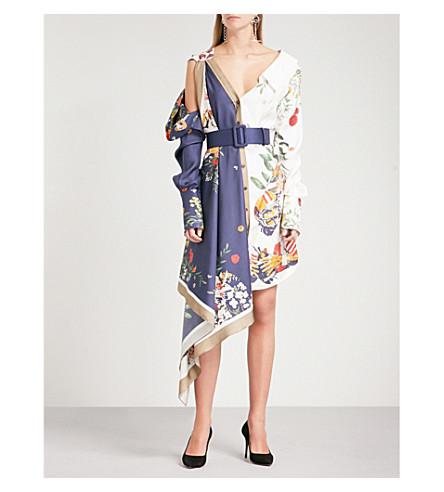 MONSE Floral football-print silk-twill dress (Navy+/+ivory+multi