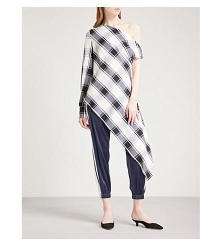 MONSE Asymmetric checked stretch-silk blouse (Black+/+white