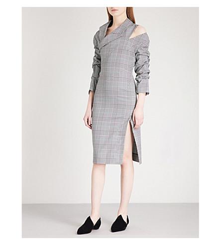 MONSE Cutout checked twill dress (Plaid+multi+-+green
