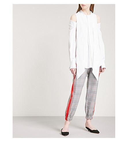 MONSE Cold-shoulder stretch-cotton shirt (White