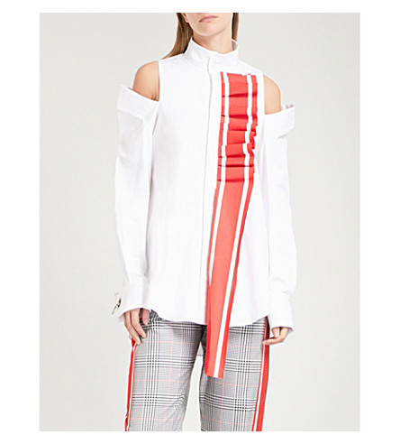 MONSE Ruffled racing stripe-detail cotton-blend shirt (White+/+red