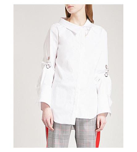 MONSE Oversized eyelet-embellished stretch-cotton shirt (White