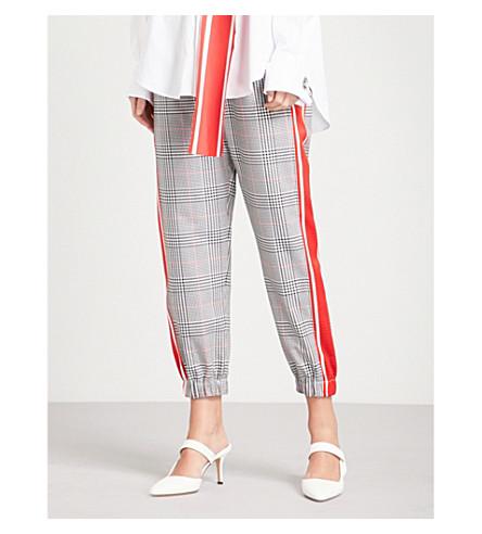 MONSE Side-stripe checked gabardine jogging bottoms (Plaid+multi+-+red