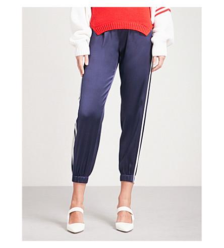 MONSE Side-stripe tapered stretch-silk jogging bottoms (Navy