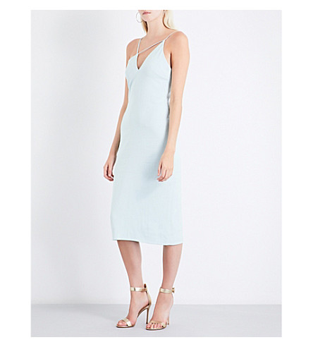 CUSHNIE ET OCHS Strap-detailed crepe dress (Ice