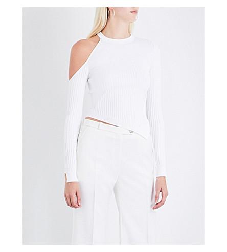 CUSHNIE ET OCHS Cold-shoulder knitted top (White