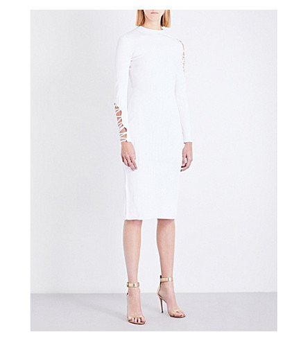 CUSHNIE ET OCHS Lace-up ribbed-knit dress (White