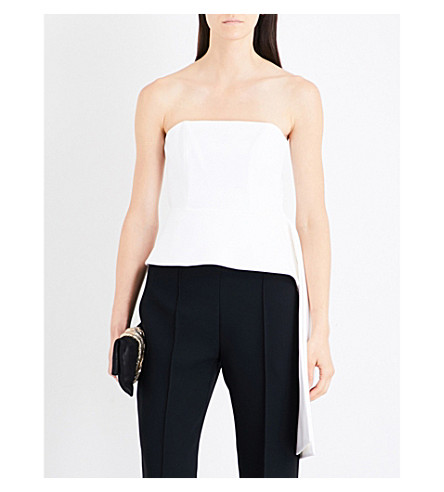 CUSHNIE ET OCHS Asymmetric corseted cady top (White