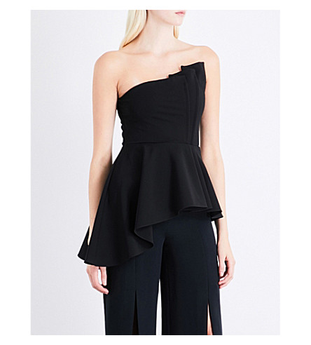 CUSHNIE ET OCHS Asymmetric flared-hem satin top (Black