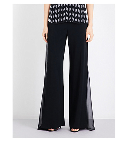 CUSHNIE ET OCHS Sheer-panel high-rise wide crepe trousers (Black