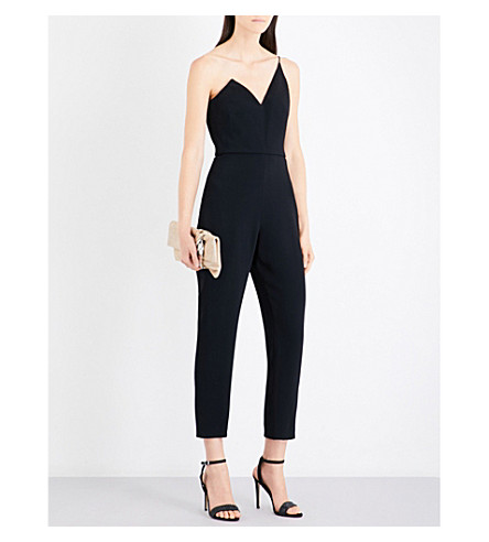 CUSHNIE ET OCHS One-shouldered corseted cady jumpsuit (Black