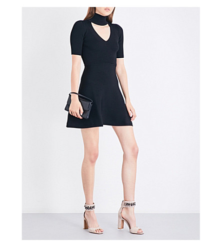 CUSHNIE ET OCHS High-neck cutout fit-and-flare knitted dress (Black