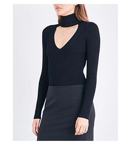 CUSHNIE ET OCHS High-neck cutout rib-knitted body (Black
