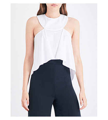 CUSHNIE ET OCHS Halterneck flared-hem cotton-blend top (White