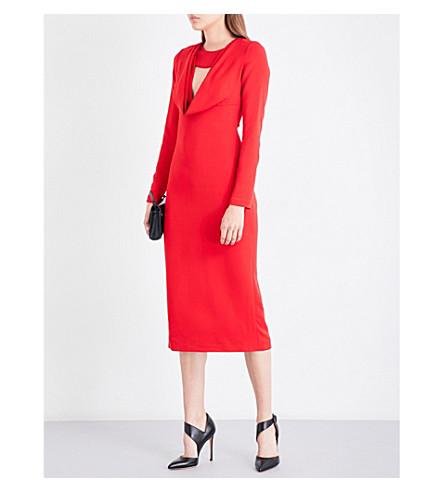 CUSHNIE ET OCHS Drape cutout tailored crepe dress (Poppy