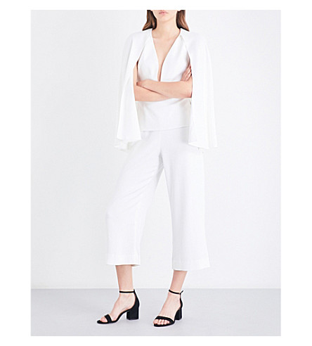 CUSHNIE ET OCHS Cape-panel fitted crepe jumpsuit (White