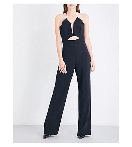 CUSHNIE ET OCHS Spaghetti-strap cutout fitted crepe jumpsuit (Black
