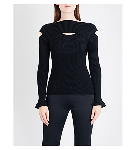 CUSHNIE ET OCHS Boat-neck knitted jumper (Black