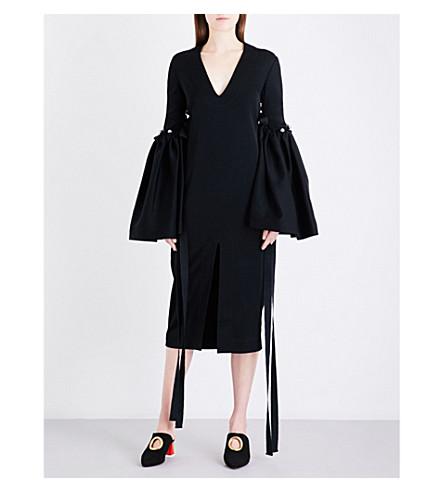 ELLERY Flared-sleeve crepe midi dress (Black