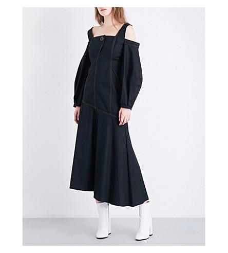 ELLERY Mississippi cold-shoulder cotton-twill dress (Black/+toffee