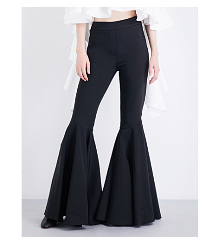 ELLERY Jacuzzi flared stretch-crepe trousers (Black