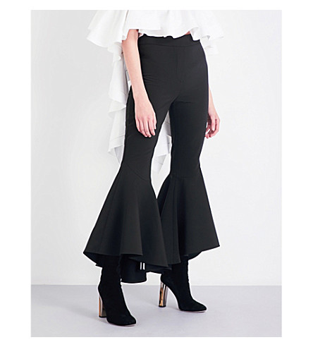 ELLERY Sinuous flared stretch-crepe trousers (Black