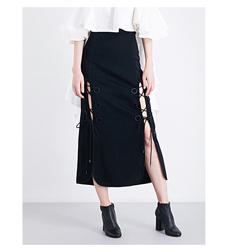 ELLERY The Blues lace-up crepe midi skirt (Black