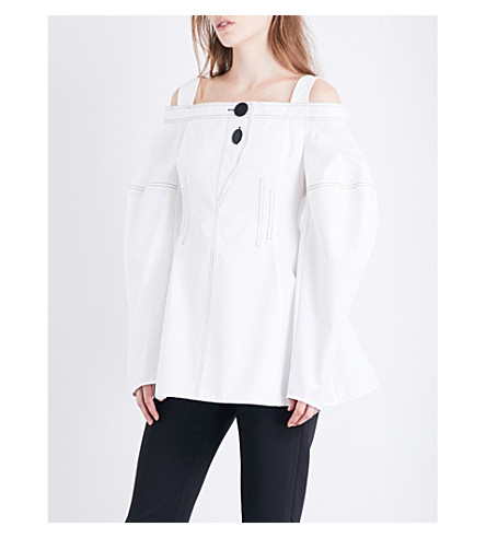 ELLERY Sugar cold-shoulder cotton-twill top (White/+black
