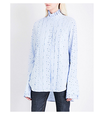 ELLERY Angelus pleated striped cotton-poplin shirt (White/+blue