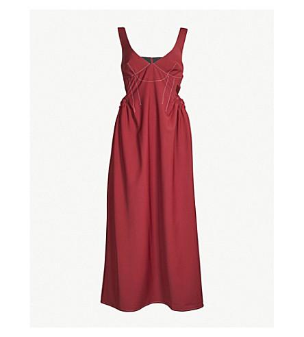 ELLERY 对比针绉连衣裙 (Burgandywith + 蓝色