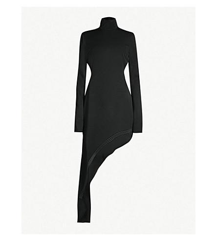 ELLERY Asymmetric cutout-back woven dress (Black