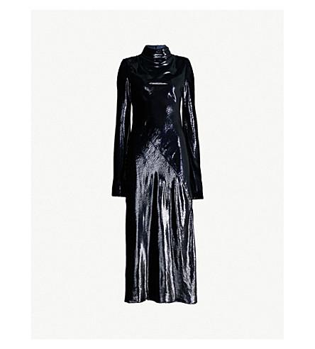 ELLERY High-neck metallic-woven midi dress (Midnight