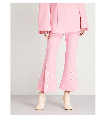 ELLERY Flared high-rise cotton trousers (Pink