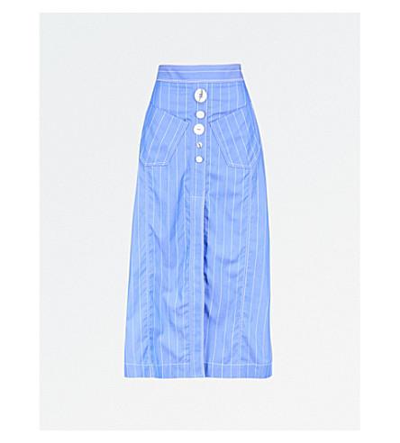 ELLERY 安姬条纹高腰棉府绸迷笛裙 (蓝色 + w + 白色