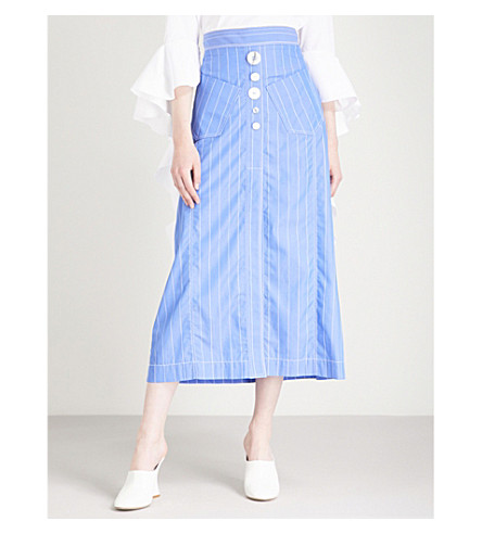ELLERY Aggie striped high-rise cotton-poplin midi skirt (Blue+w+white