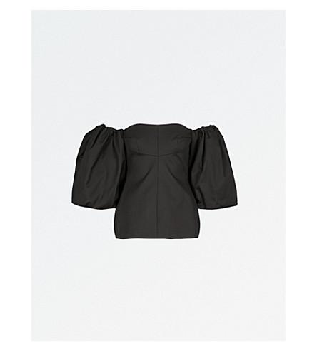 ELLERY Off-the-shoulder balloon-sleeve cotton top (Black