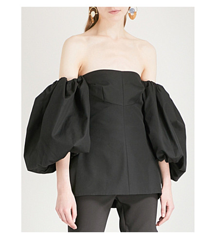 ELLERY Off-the-shoulder balloon-sleeve cotton top (Black