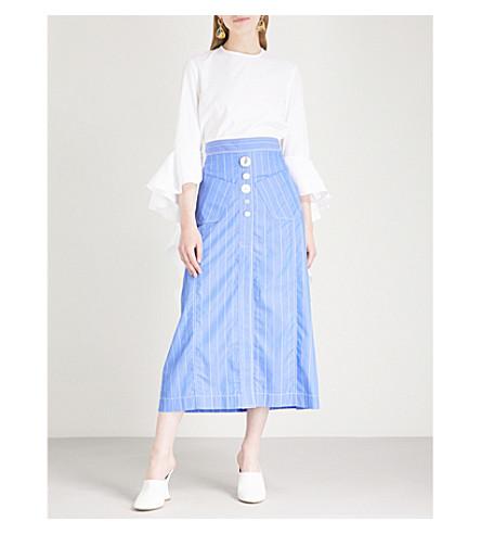 ELLERY Frilled-sleeve cotton-poplin top (White