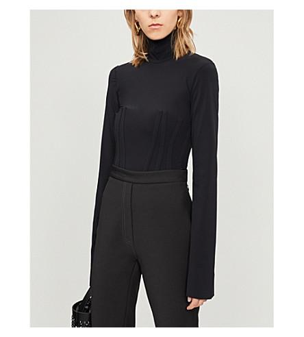 ELLERY 轮廓面板高领毛衣纺织上衣 (黑色