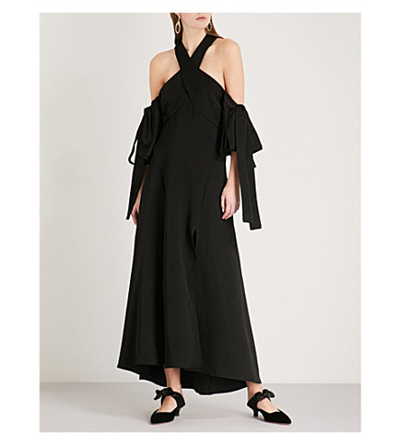 ELLERY Halterneck crepe maxi dress (Black