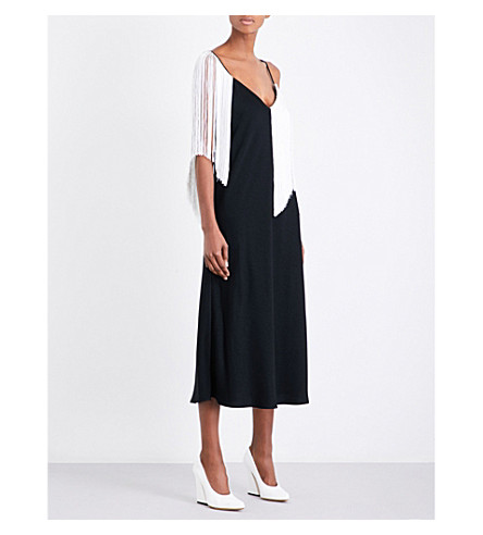 ELLERY Fandango fringed crepe slip dress (Black