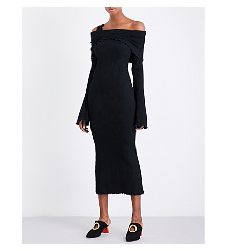 ELLERY Dolly off-the-shoulder ribbed-knit midi dress (Black