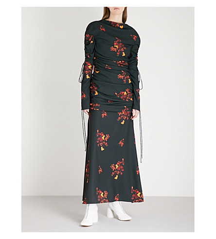 ELLERY Ruched floral-print crepe maxi dress (Wild+bunch+floral