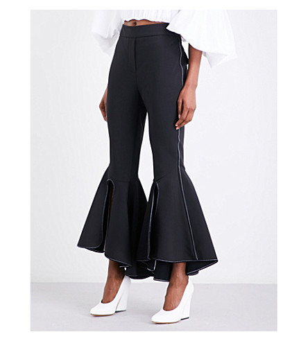 ELLERY Ox Bow flared cropped stretch-crepe trousers (Black