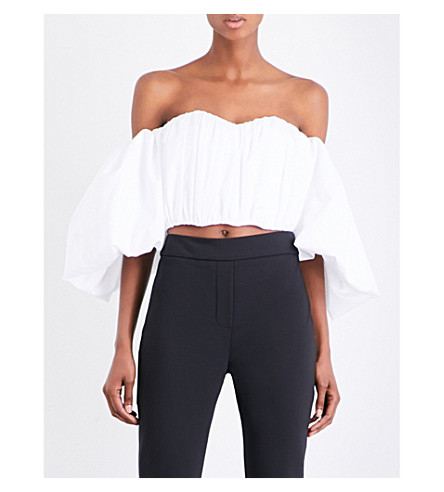 ELLERY Bachelorette off-the-shoulder cotton-poplin corset top (White