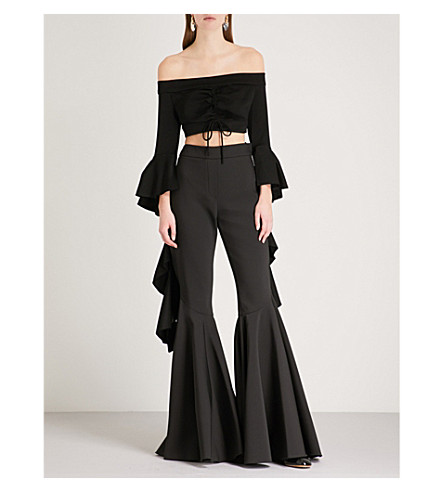 ELLERY Ruffled-sleeve off-the-shoulder jersey cropped top (Black