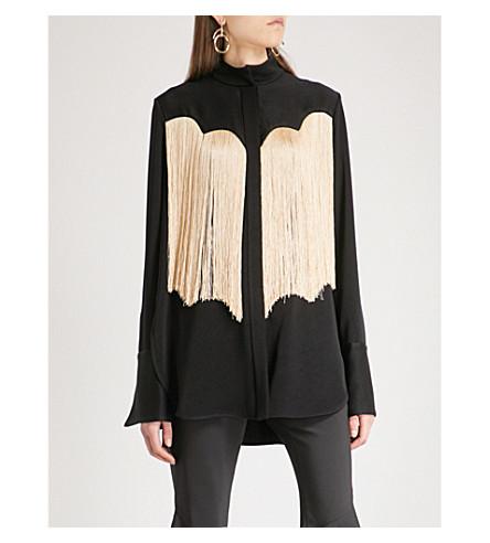 ELLERY Fringed crepe shirt (Black