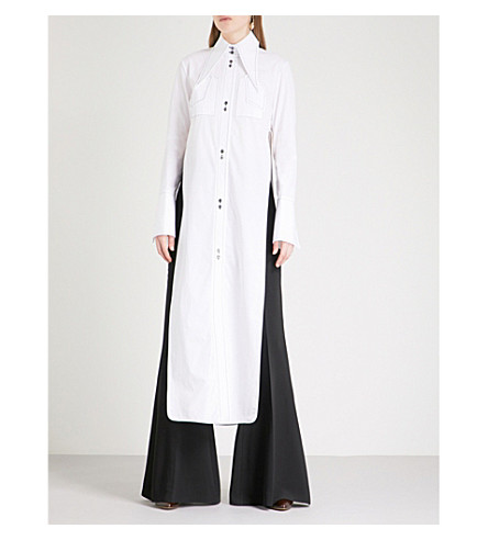 ELLERY Cutout cotton-poplin tunic dress (White+w+black